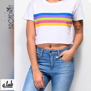A - Lab Rainbow Stripe White Crop T-Shirt
